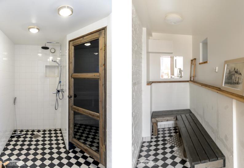 Saunan pesu- ja pukuhuoneessa vallitsee raikas mustavalkoisuus