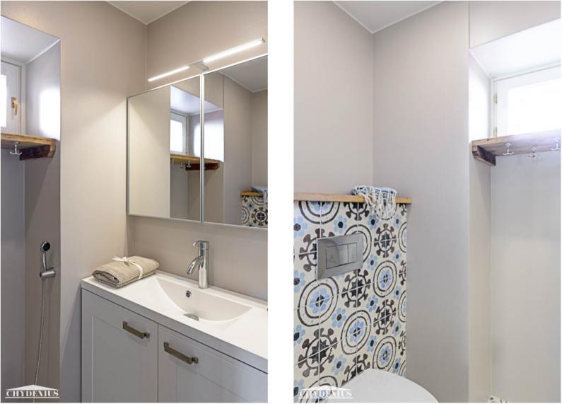 Valoisan wc:n hyllyt rakennettiin Gamla Unkanin lattialankuista. Entisestä palvelusväen oviaukosta tehtiin pyyhenaulakko