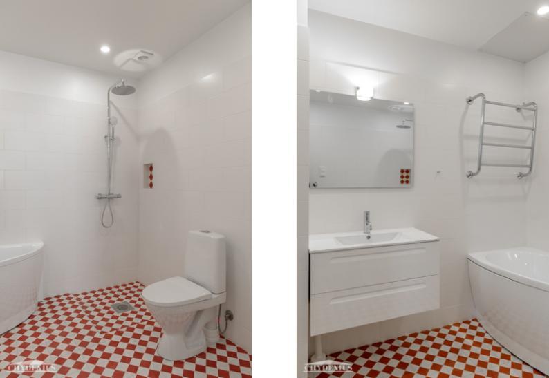 Nyt siellä näyttää tältä. Pienellä asunnolla on raikas kylpyhuone, jossa pääsee kylmänä talvi-iltana vaikka kylpyyn