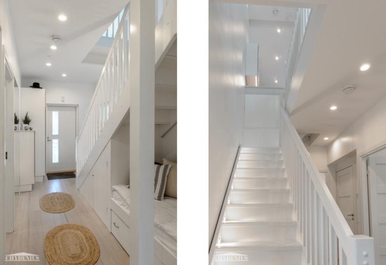 Eteisestä tullaan portaikkoon ja makuuhuoneisiin