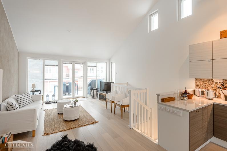Näkymä keittiöstä olohuoneeseen ja yläkerran terassille